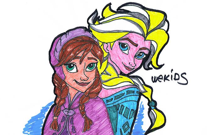 Colorear A Elsa Y Ana De La Película Frozen Wekids Canal Para
